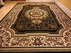 Large black 8x11 rug persian style oriental for Living room rugs amazon