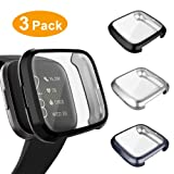 3 Pack Screen Protector Compatible Fitbit Versa 2 Case, GHIJKL Ultra-Thin Slim Soft TPU Protective Case All-Around Full Cover Bumper Shell for Fitbit Versa 2 Smartwatch, Silver, Black, Gray (Color: Versa 2: Silver, Black, Gray)