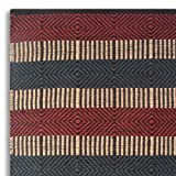 Homescapes Large Jute Rug Red, Blue and Black Striped Geometric Design 150 x 240cm (5' x 8') Heavy Duty Suitable for Halls, Living Rooms or Conservatories