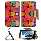 Motorola Google Nexus 6 Flip Pu Leather Wallet Case Colorful multicolored geometric abstract digital photo collage technique pattern IMAGE 36334372 by MSD Customized Premium