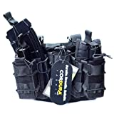 TTGTACTICAL Molle Tactical Drop Leg Platform Leg Rig with 2 Attached Magazine Pouch & 1 Single Mag Pouch (Black) (Color: Black)