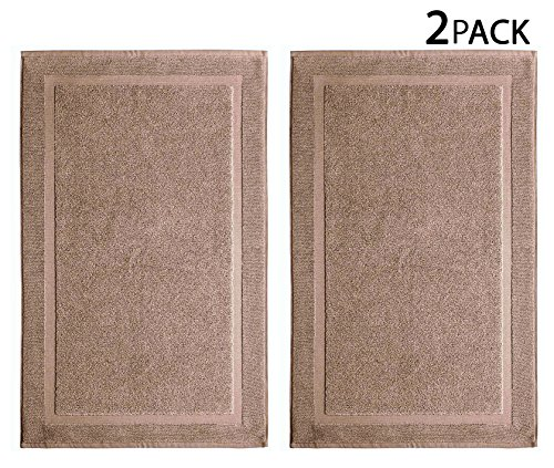 Cotton Craft – 2 Pack Bath Mat – Linen – 100% Ringspun Cotton Tub Mat 21×34 – Oversized 21×34 Heavy Weight 1000 Grams – 2 Ply Construction – Highly Absorbent – Soft Underfoot – Easy Care Machine Wash