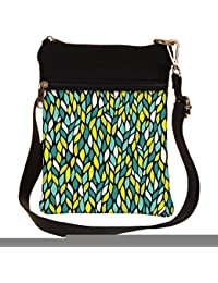 Snoogg A Seamless Leaf Pattern Cross Body Tote Bag / Shoulder Sling Carry Bag
