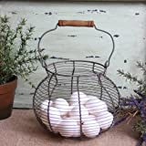 Antique Style Wire Egg Basket Shabby Cottage Chic Country Home Decor