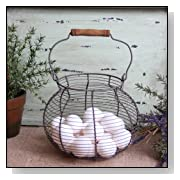 Antique Style Wire Egg Basket Shabby Cottage Chic