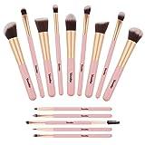 Makeup Brushes Set, Yuwaku Premium Synthetic 14pcs Kabuki Make Up Brush, Pink Foundation Powder Concealers Blush Eyeliner Eye Shadows Cosmetic Kit