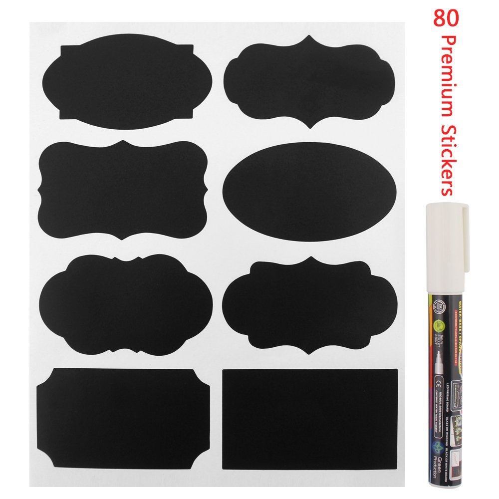 Chalkboard Labels - Yukiss@ 80 Premium Reusable Chalk Stickers for Jars + White Chalk Marker with 6mm Reversible Tip - (Mini Size for Tins, Bottles and any Storage, Best Even for Your Home and Office)