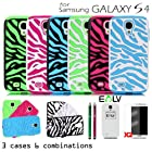 E-LV Three Pieces Interchangeable Zebra Design Hard and Soft Hybrid Armor Combo Case Skin Gel Bundle for Samsung Galaxy S4 S IV i9500 with 2 Screen Protectors, 2 Styluses and Microfiber Sticker Digital Cleaner - White Light Blue / Black Green / White Hot Pink