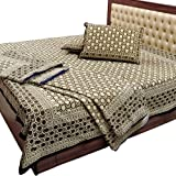 Little India Traditional Hand Block Gold Print Cotton 4 Piece Double Bedding Set - Beige  (DLI3HFH206)