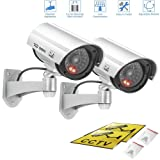 Fake camera,Outdoor & Indoor Fake/Dummy Security Camera w/Flashing Red Light For Night,Bullet CCTV Surveillance System With Realistic Look Recording LEDs 2 pack (Silver) (Color: silver)