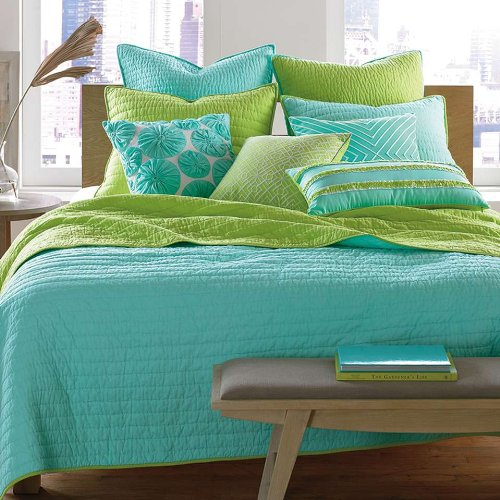 Nostaligia Aqua Pick Stitch Lime Euro European Pillow Sham back-973085