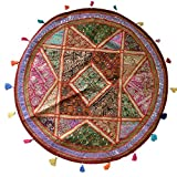 Raun Harman Ethnic Embroidered Round Patchwork Area Rug (Pattern 3) (100cms)