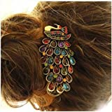 Good Diamond Jewelry Decorated Korean Korean Version of the Peacock Headdress Hair Accessories Vintage Hair Clip the Top Edge Clamp Plate Made in Europe and America Net Sales in the First Full Retro Peacock Hairpin