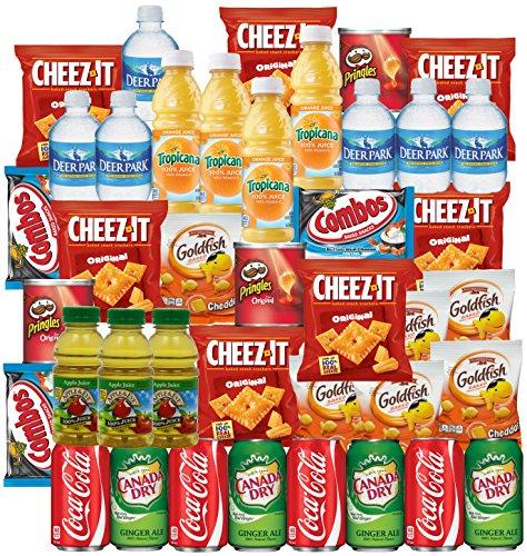 coke-ginger-ale-bottled-water-apple-juice-tropicana-orange-cheeze-it-pringles-goldfish-combos-snacks