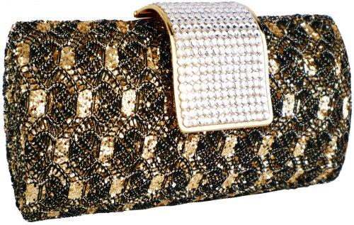 Golden / Black Enchanting Vintage Lace Sprinkle Bling Rhinestones Closure Hard Case Baguette Evening Clutch Purse w/Detachable Shoulder Chain