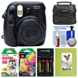 Fujifilm Instax Mini 8 Instant Film Camera (Black) with Photo Album + Instant Film & Rainbow Film + Case + Batteries & Charger Kit