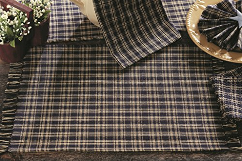 IHF New Cambridge Navy Design Placemat Table Linen 100% Cotton 13 Inch x 19 Inch Set of 4