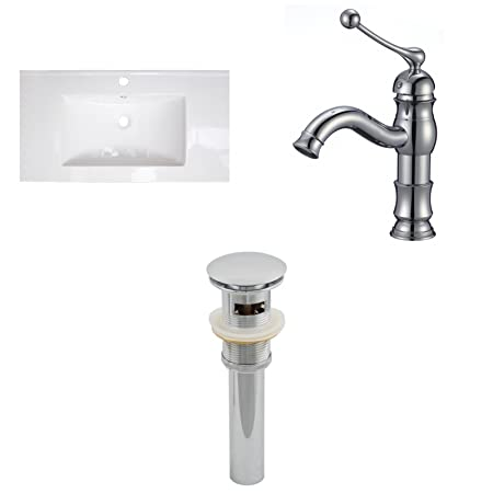 """American Imaginations AI-16620 Ceramic Top Set with Single Hole CUPC Faucet and Drain, 32"""" x 18"""", White"""