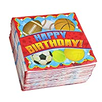 Red Happy Birthday Beverage Napkin, Sports Birthday Party Napkins (150 Count)