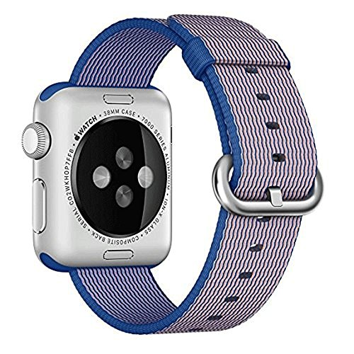 Apple Watch cinturino ,PUGO TOP Woven Nylon Replacement Wrist cinturino Bracelet Strap for Apple Watch Serise 1/Apple Watch Serise 2(42mm , Blu reale)