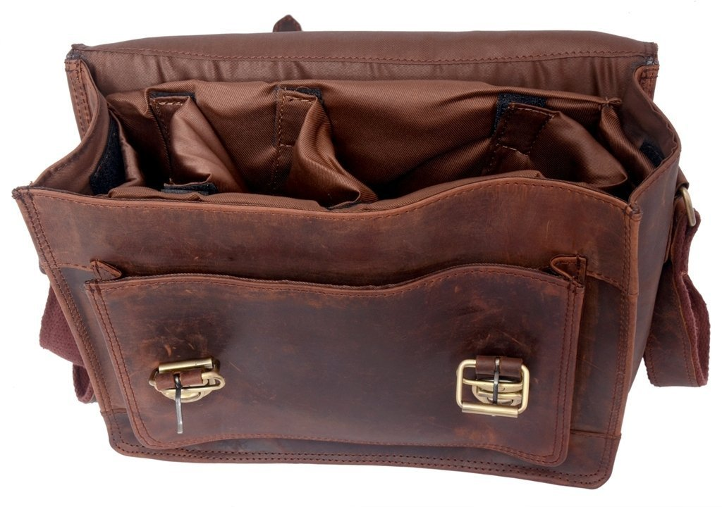 FeatherTouch Leather Camera Dslr Travel Camera Bag 12X9X5 Inches Brown 1