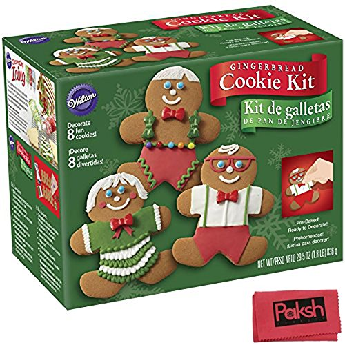 Chritmas Bundle - Christmas Gingerbread Cookie Kit, 8 cookies with Icing, Fondant, Sprinkles, Multi Colored Candies, Decorating Bag and Tip Included. - Bundled with Cloth (Tiny Cracker Cutters compare prices)