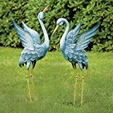 Japanese Blue Heron Metal Garden Sculpture Set-This Set of Two Metal Cranes are perfect for Home and Garden Decor-Metal Garden Art, Outdoor Lawn and Patio Decor, Backyard Sculpture, and Decoration.