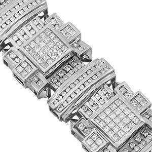 14K White Gold Mens Diamond Bracelet 16.20 Ctw