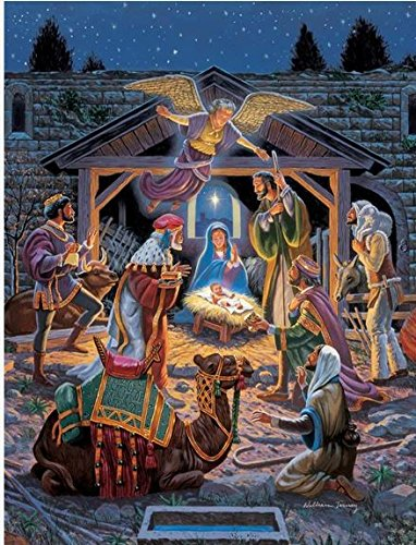 Holy Night Nativity Ez Grip Glitter 300 Pc Jigsaw Puzzle with a Book Box