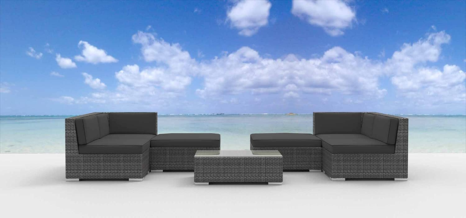 www.urbanfurnishing.net Urban Furnishing - HAWAII 7pc Modern Outdoor Backyard Wicker Rattan Patio Furniture Sofa Sectional Couch Set - Charcoal at Sears.com