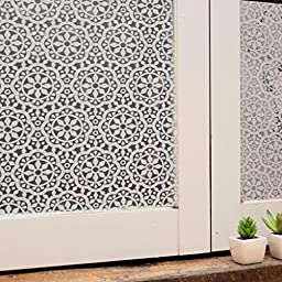 Bloss Non-Adhesive Frosted Privacy Flowers Decorative Window Film for Bathroom or Kitchen (17.7x78.7 Inch)