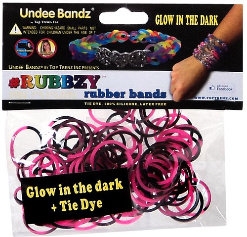 Undee Bandz Rubbzy 100 PINK & BLACK GLOW-in-the-DARK Tie-Dye Rubber Bands with Clips
