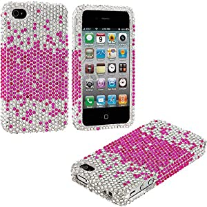 myLife Pink + Silver Pixel Skin - Rhinestone Series (2 Piece Snap On) Hardshell Plates Case for the iPhone 4/4S (4G) 4th Generation Touch Phone (Clip Fitted Front and Back Solid Cover Case + Rubberized Tough Armor Skin)