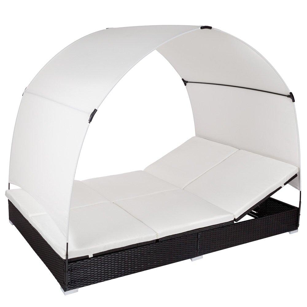TecTake Alu Sonnenliege Poly Rattan Gartenliege Loungeliege Gartenlounge Doppelliege mit Dach 2 Personen – schwarz – jetzt bestellen