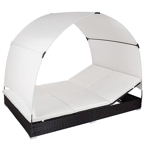 TecTake Aluminium Chaise longue bain de soleil meuble de jardin en poly rotin 2 places transat avec parasol - noir -