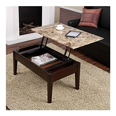 Nice Living Faux Marble Lift Top Storage Coffee Table Black Dorel