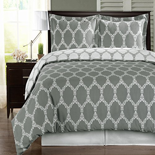 Deluxe Reversible Brooksfield Duvet Cover Set, 100% Egyptian Cotton 300 Thread Count Bedding, woven with superior single-ply yarn. 3 piece Full / Queen Size Duvet Cover Set, Gray and White (Single Duvet Insert compare prices)