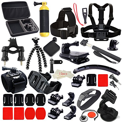 MCOCEAN Accessory Kit for GoPro Hero 1/ 2/ 3/ 3+/ 4 - Black (27 Items)