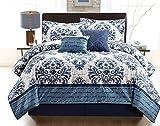 COMPASS Oversized & Over Filled Cosette 6 Piece Mink Comforter Set, Queen, Blue