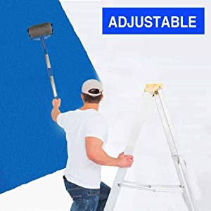 Paint Roller Kit, 9PCS DIY Wall Printing Brush kit with Paint Runner Pro Brush, Wall Printing Brush, 3 Telescopic Poles for House, School & Office Wall, Ceiling