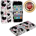 myLife (TM) Pink + Black Heart Overload Series (2 Piece Snap On) Hardshell Plates Case for the iPhone 4/4S (4G) 4th Generation Touch Phone (Clip Fitted Front and Back Solid Cover Case + Rubberized Tough Armor Skin + Lifetime Warranty + Sealed Inside myLife Authorized Packaging)