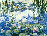 Wieco Art - Water Lilies by Claude Monet Oil Paintings Flowers Reproduction Modern Giclee Canvas Prints Artwork Landscape Pictures Printed on Canvas Wall Art for Home Kitchen Decor