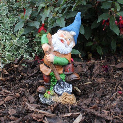Traditonal Design Resin Garden Gnome Ornament with Spade