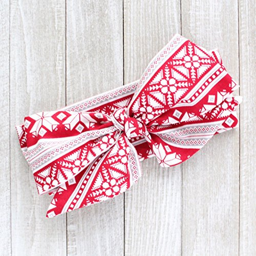 Britt's Bowtique Red Winter Christmas Fabric Top Knot Turban Headwrap Big Bow Headbands, One Size Fits All
