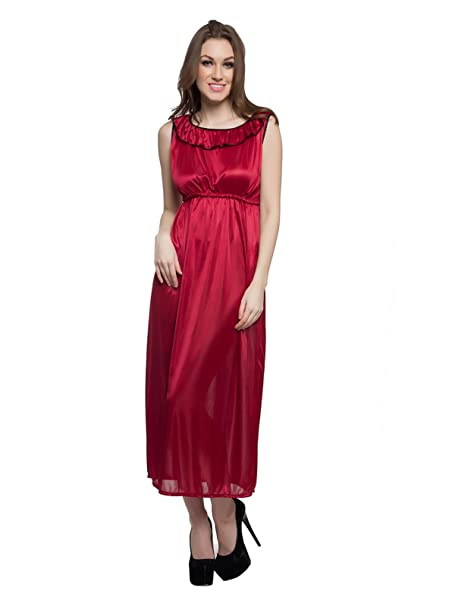 Clovia Women's Satin Nightdress and Nightshirt at amazon