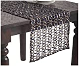 SARO LIFESTYLE 8013 1-Piece Morgaine Runners Oblong Tablecloth, 16 by 72-Inch, Cobalt Blue