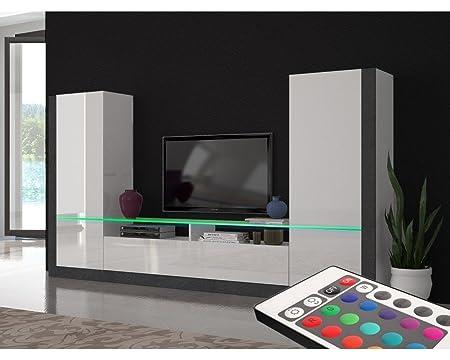 Meuble TV mural design lumineux Ornela