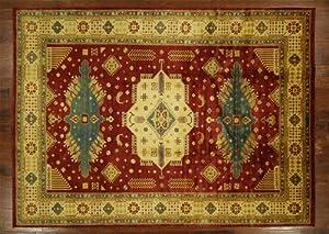UN Rug - 9' X 12' Deep Red Double Knotted Wool Oriental Rug Super Kazak Handmade - T1722