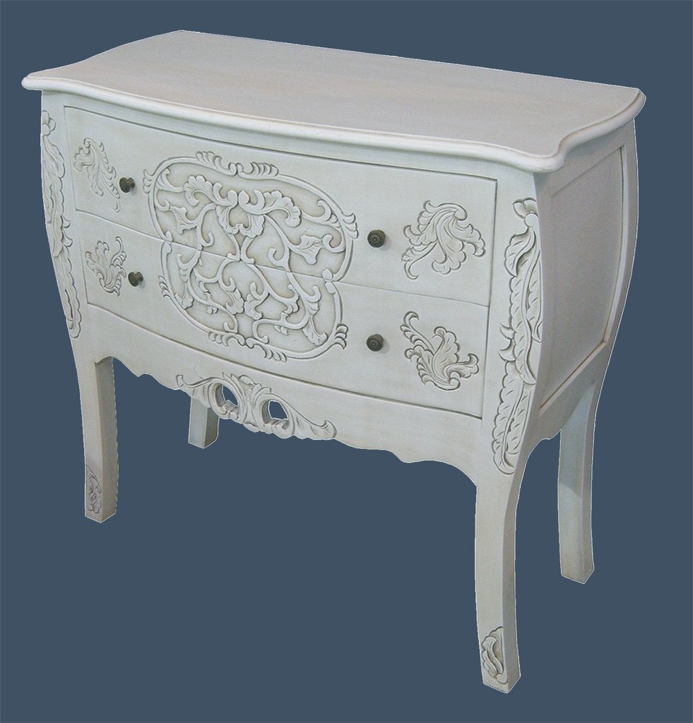 French Shabby Chic Furniture, Handcarved Chest of Drawers in Antique Ivory       Customer reviews and more news