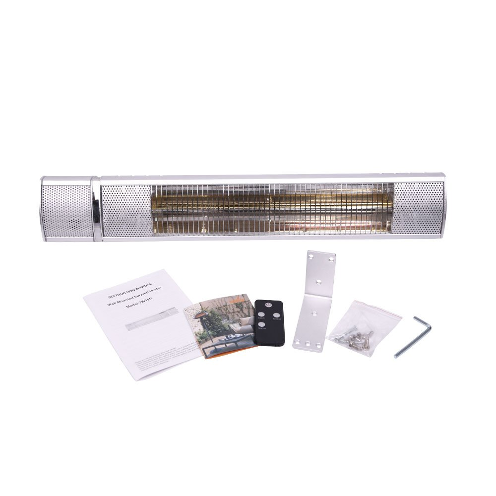 Sundate Electric Patio Heater, Wall Mounted Infrared Heater with Remote Control, 1500W, TW15R